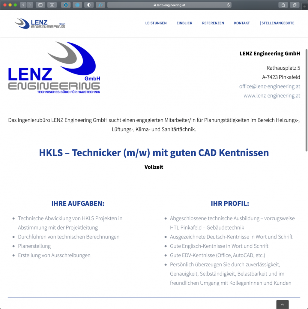 Referenz - Webseite Lenz Engineering
